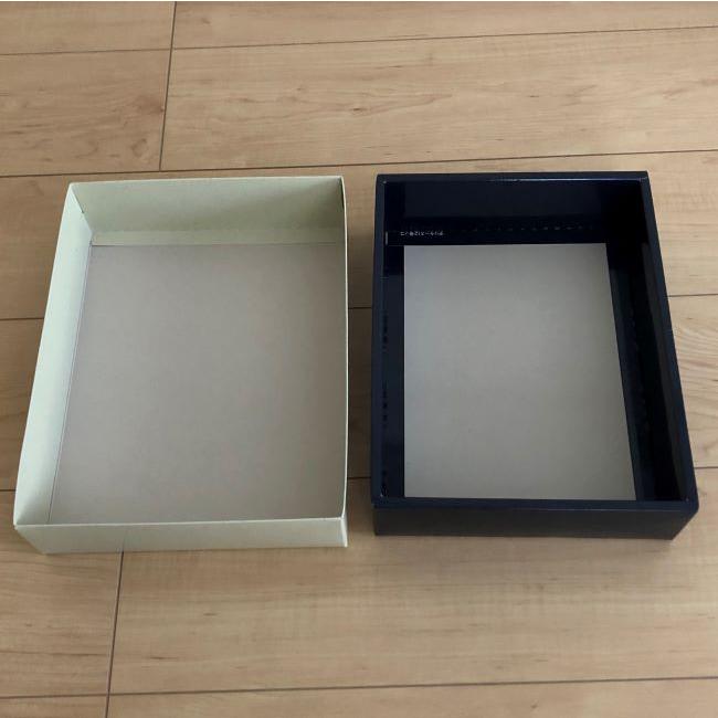 こちらの箱は和菓子が入っていたお菓子の空き箱です。