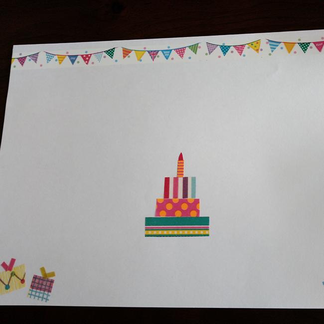 今回は誕生日を迎える子のために、 マスキングテープで作ったこんな台紙を用意しました。