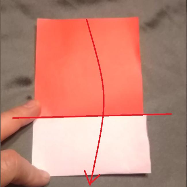 矢印のように白い部分の端(中心線)で、下に折ります。