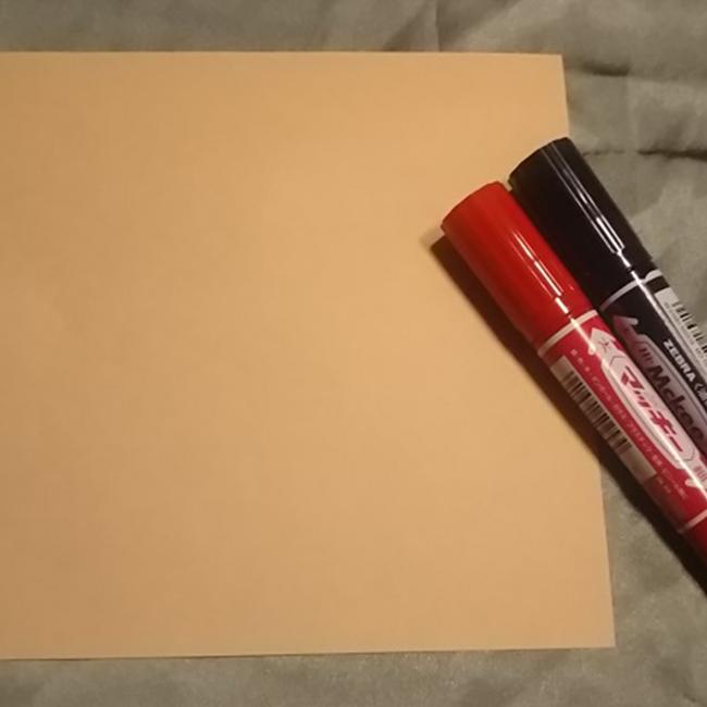 折り紙・・・ベージュ系1枚   ・マジック等
