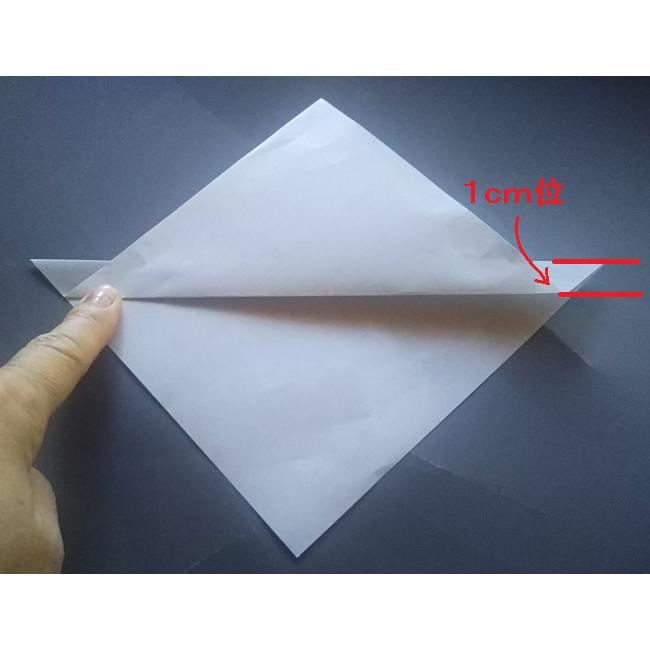 図のように中心線から下に1㎝程度のところを上に折ります。
