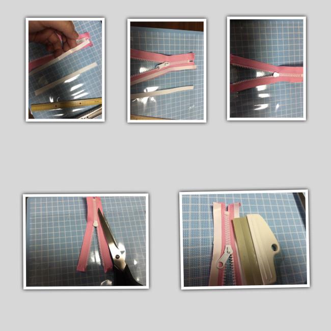 両面テープがカットできたらファスナーに貼るのですが ファスナーが袋より長い時の対処方法があります。